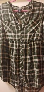 Button up flannel blouse